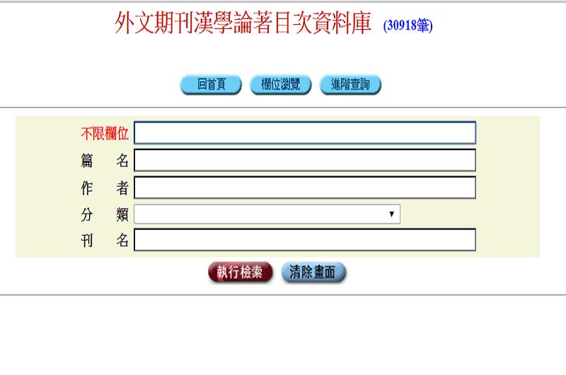 外文期刊漢學論著目次資料庫